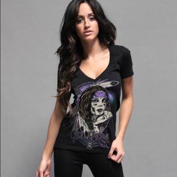Sullen Angel CALI LOVE V Neck Black T Shirt Womens